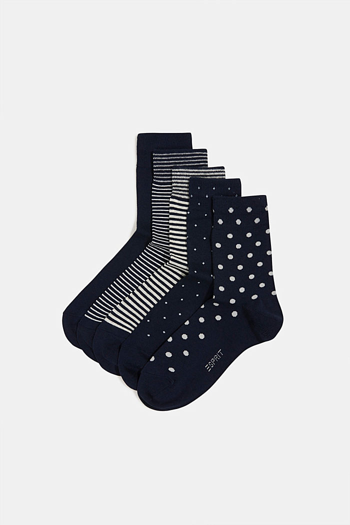5-pair pack of blended cotton socks, NAVY/WHITE, detail image number 0