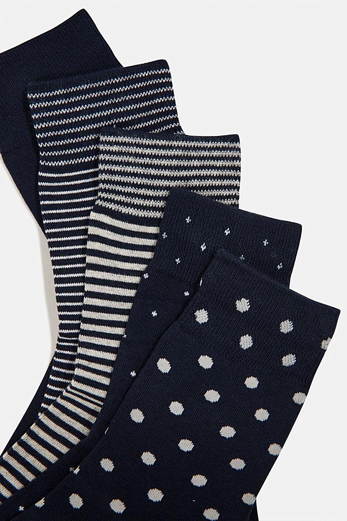 5-pair pack of blended cotton socks, NAVY/WHITE, detail image number 1