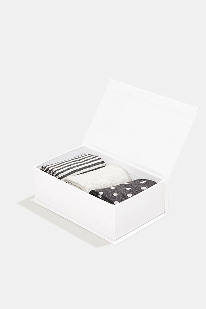 Gift box containing a triple pack of socks, BLACK/WHITE, detail image number 3