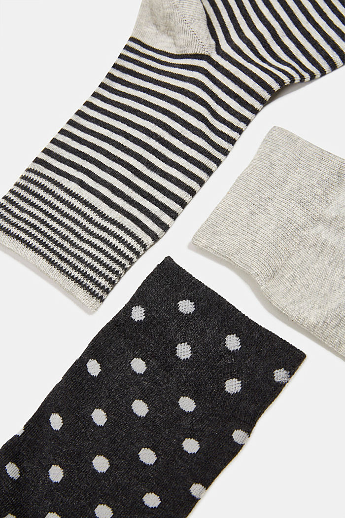 Gift box containing a triple pack of socks, BLACK/WHITE, detail image number 1