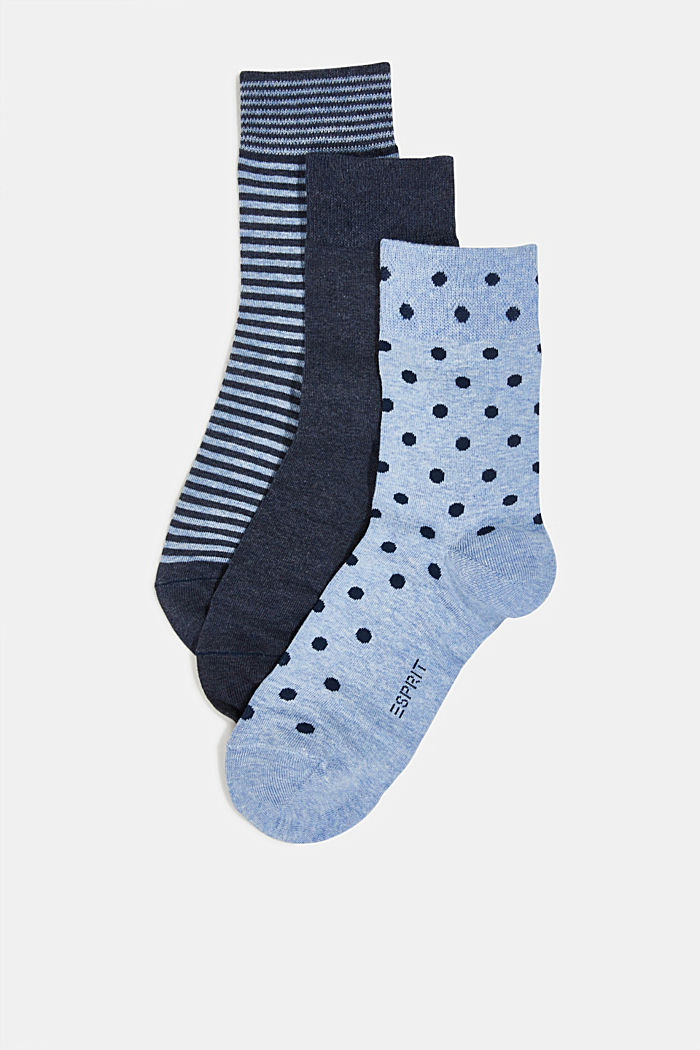 Gift box containing a triple pack of socks, BLUE, detail image number 0