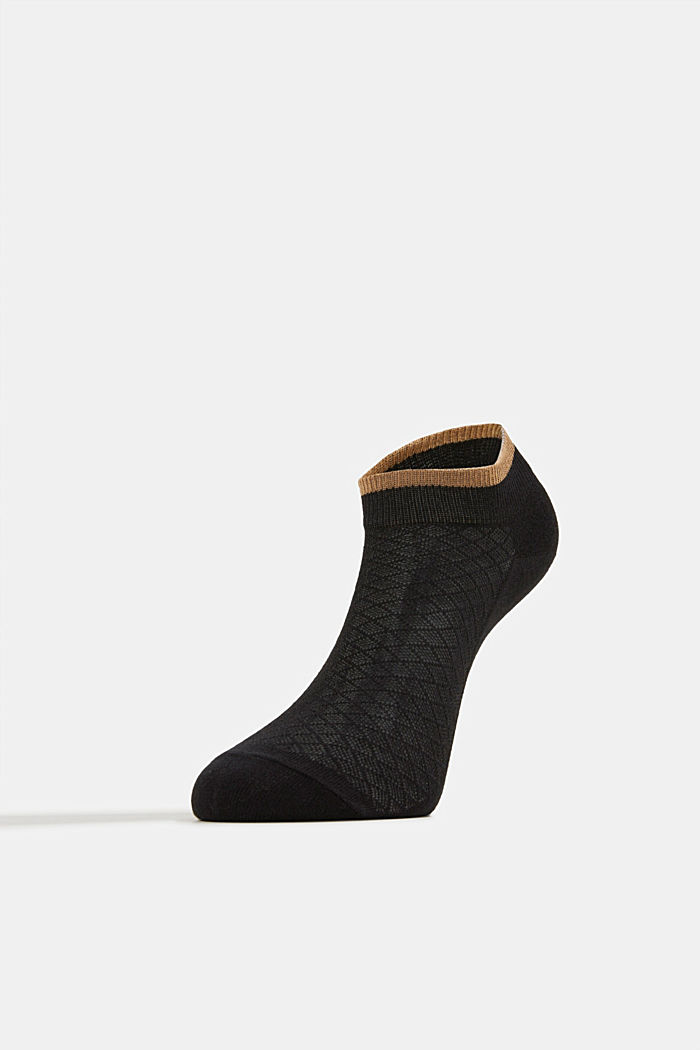 Socken mit Ajour-Muster, BLACK, overview