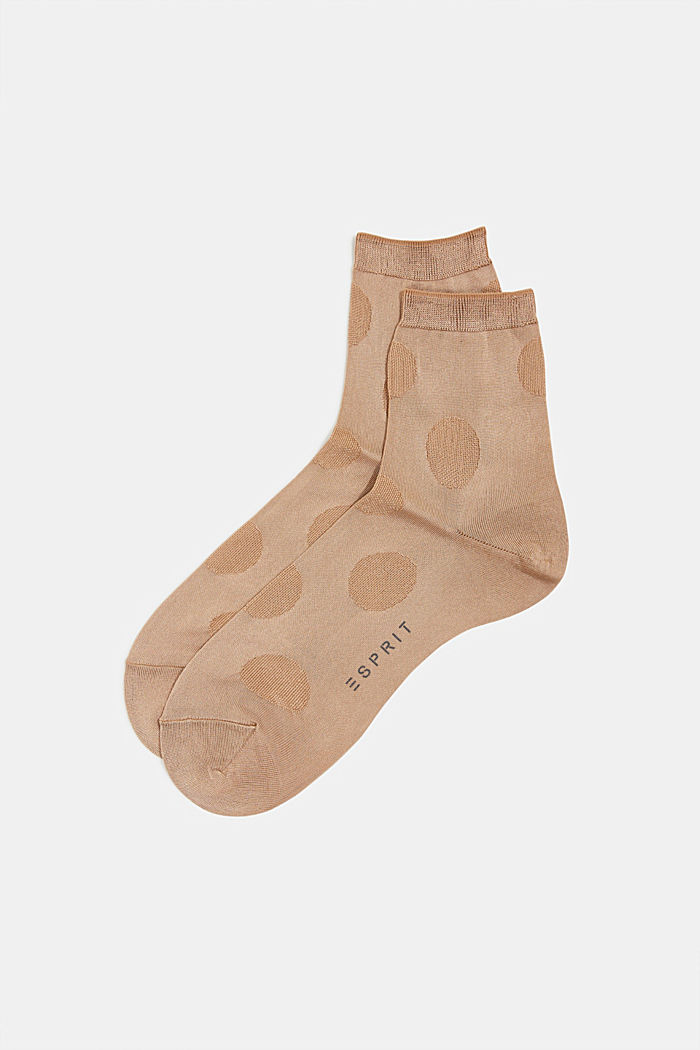 Socks with a polka dot texture, CAMEL, detail image number 0