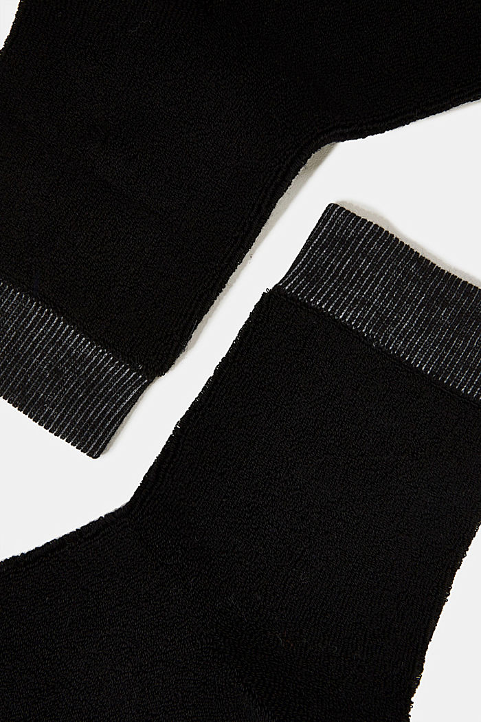 Socks with a terrycloth texture, BLACK, detail image number 1