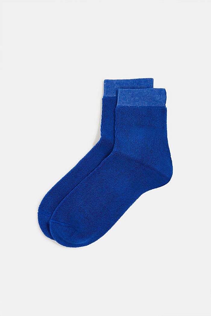 Socks with a terrycloth texture, COBALT, detail image number 0