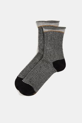 Socks with houndstooth check pattern, BLACK, detail
