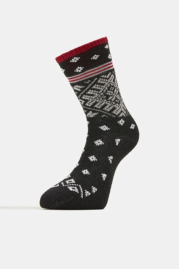 Wool blend socks in a Fair Isle design, BLACK, detail image number 1