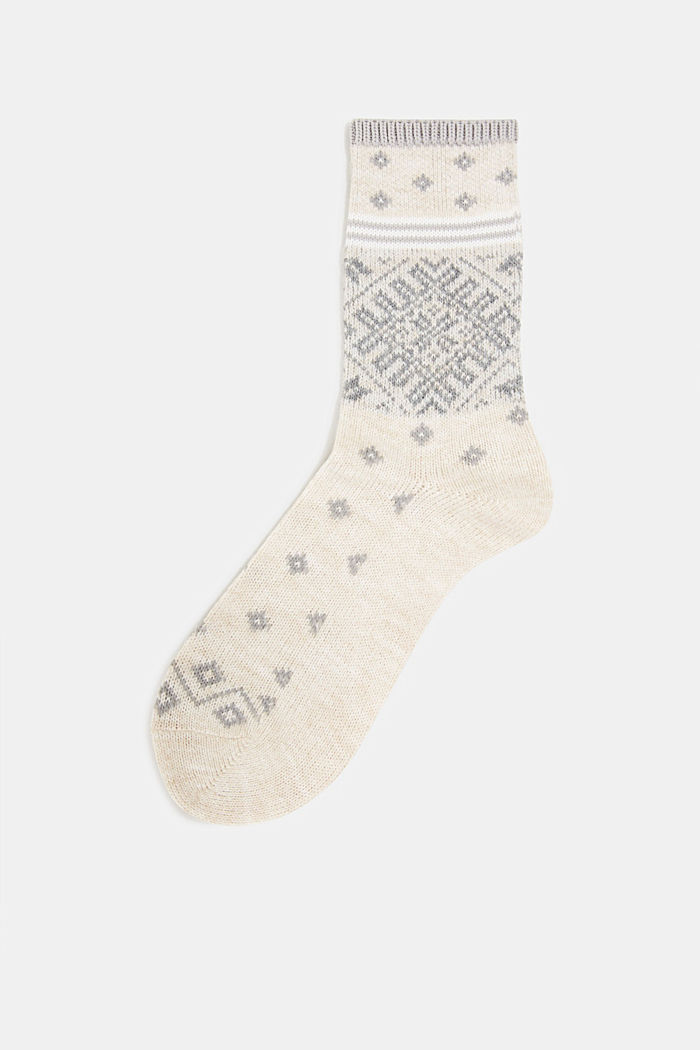 Wool blend socks in a Fair Isle design, CREAM, detail image number 0