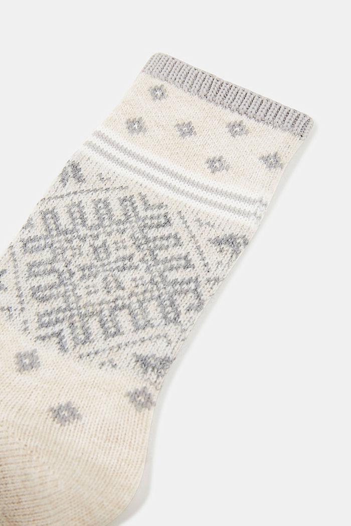 Wool blend socks in a Fair Isle design, CREAM, detail image number 2