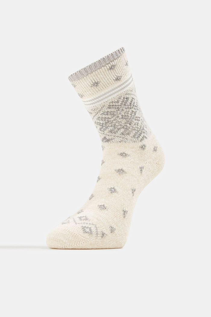 Wool blend socks in a Fair Isle design, CREAM, detail image number 1