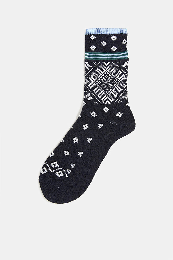 Wool blend socks in a Fair Isle design