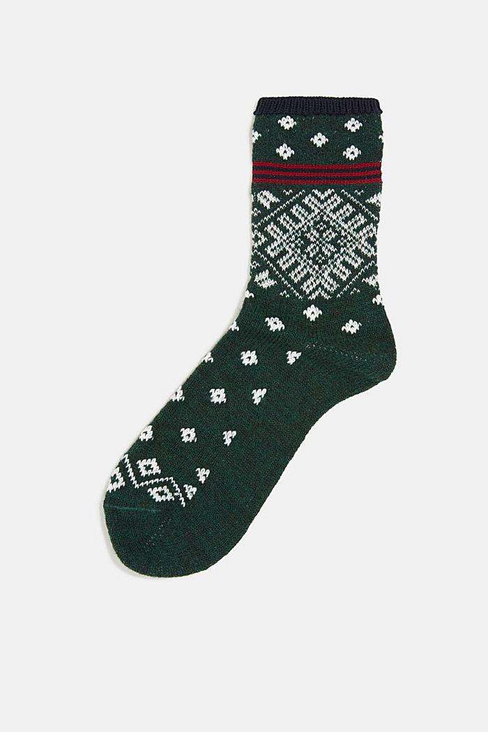 Wool blend socks in a Fair Isle design, FIRE TREE, detail image number 0