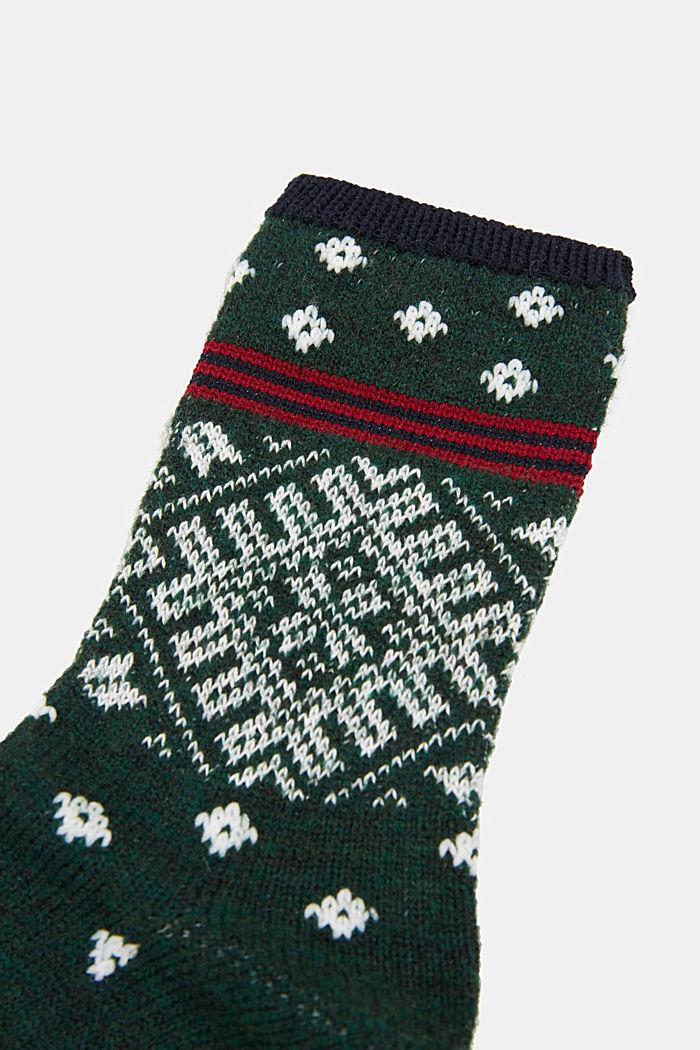 Wool blend socks in a Fair Isle design, FIRE TREE, detail image number 2