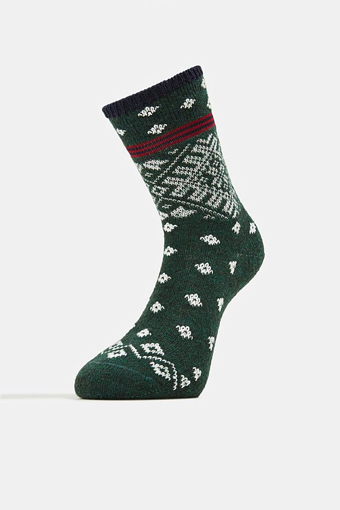 Wool blend socks in a Fair Isle design, FIRE TREE, detail image number 1