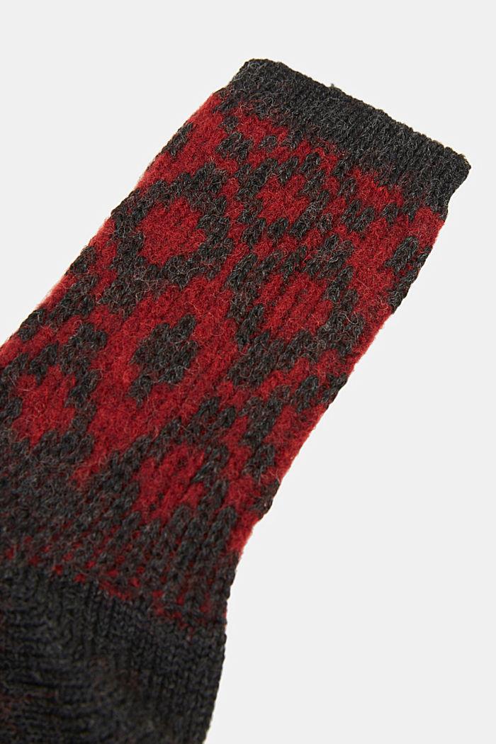 Wool blend socks with a diamond pattern, ANTHRACITE MELANGE, detail image number 2