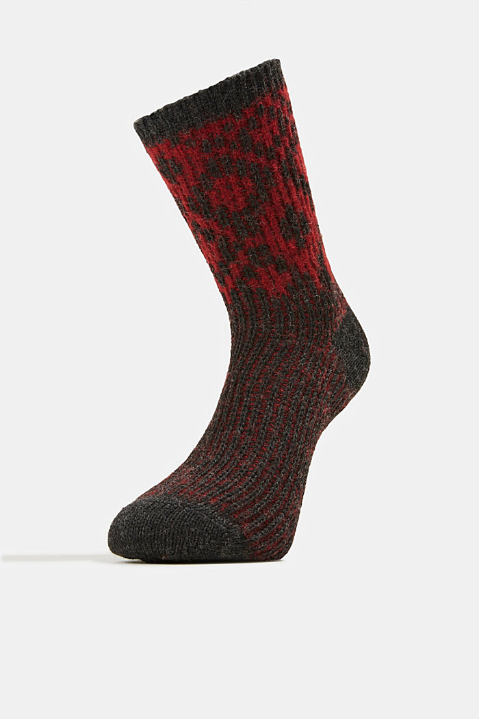 Wool blend socks with a diamond pattern, ANTHRACITE MELANGE, detail image number 1