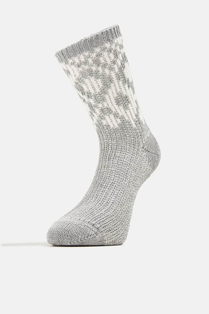 Wool blend socks with a diamond pattern, MEDIUM GREY MELANGE, detail image number 1