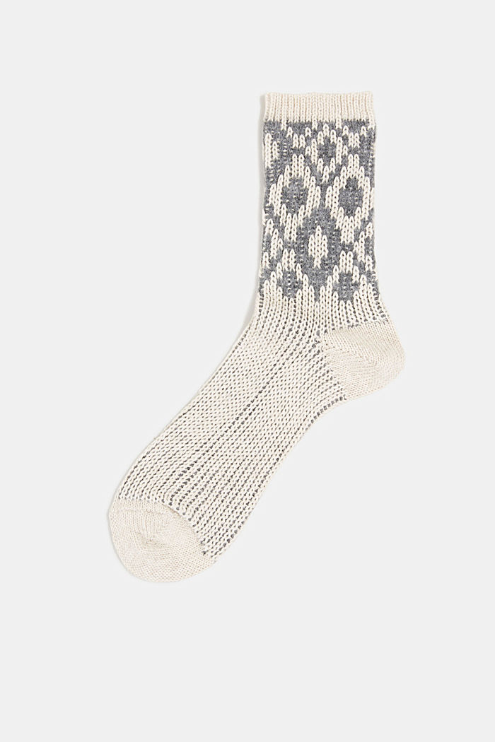 Wool blend socks with a diamond pattern, NATURE MELANGE, detail image number 0