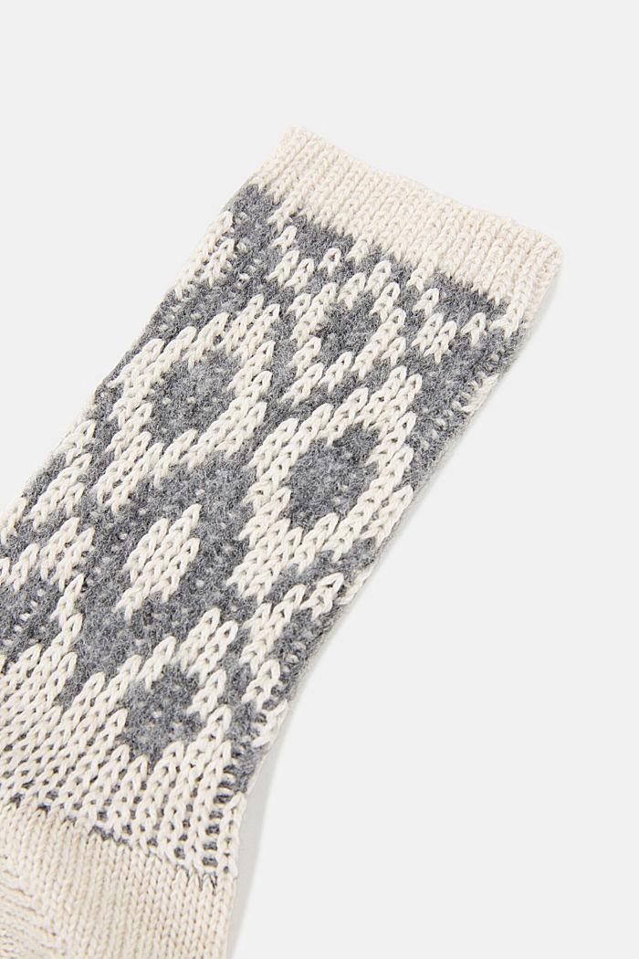 Wool blend socks with a diamond pattern, NATURE MELANGE, detail image number 2