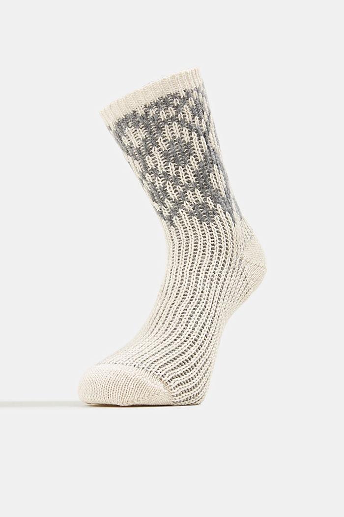 Wool blend socks with a diamond pattern, NATURE MELANGE, detail image number 1