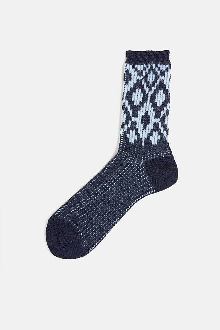 Wool blend socks with a diamond pattern, DEEP BLUE, detail image number 0