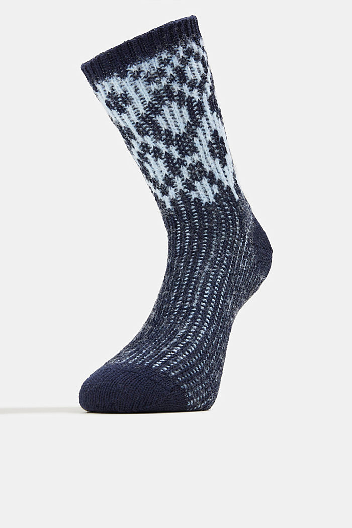 Wool blend socks with a diamond pattern, DEEP BLUE, detail image number 1
