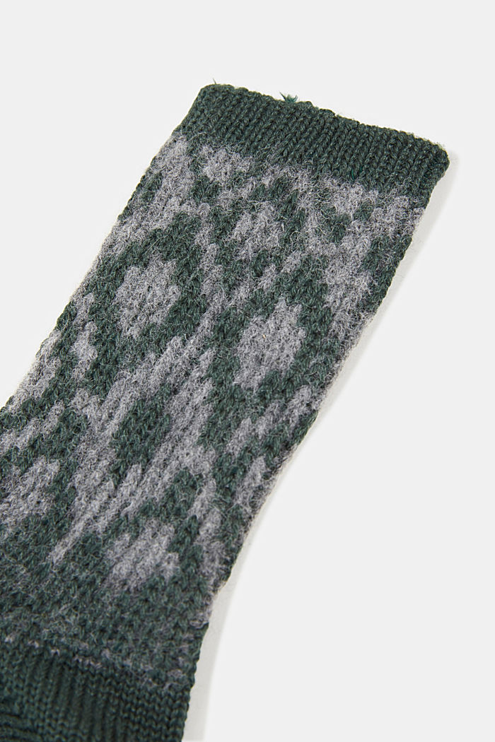 Wool blend socks with a diamond pattern, THYME, detail image number 2