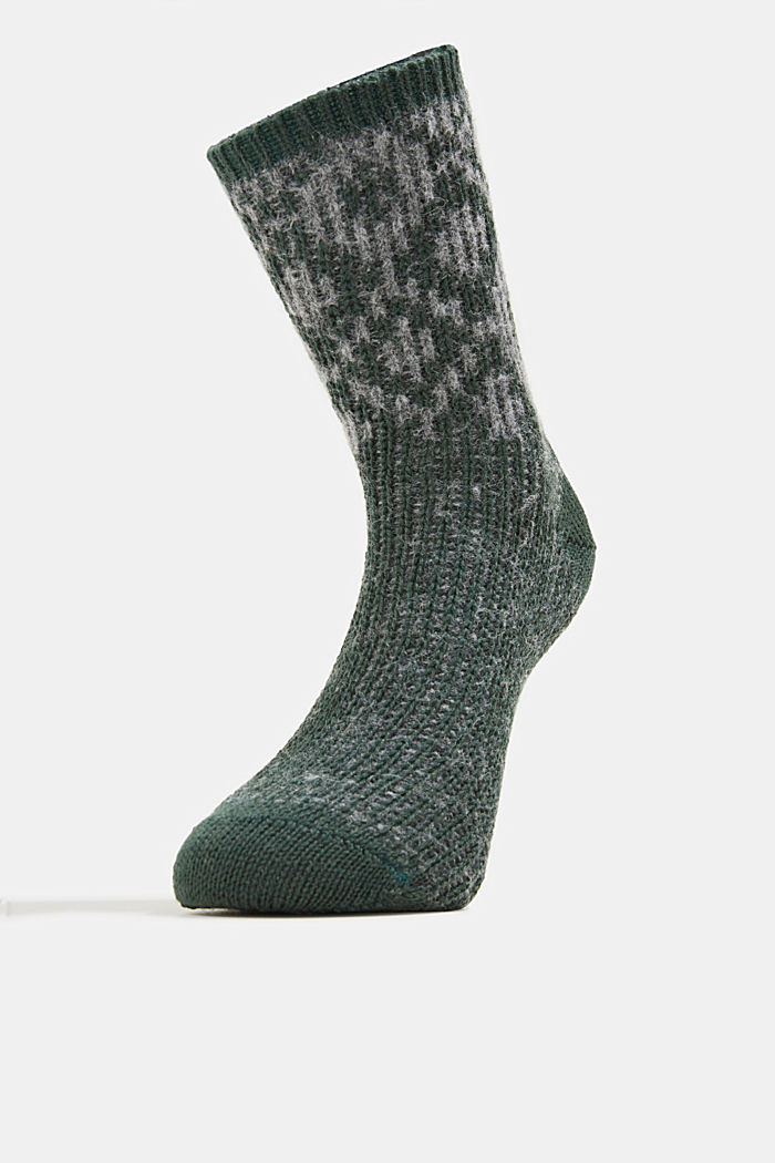 Wool blend socks with a diamond pattern, THYME, detail image number 1
