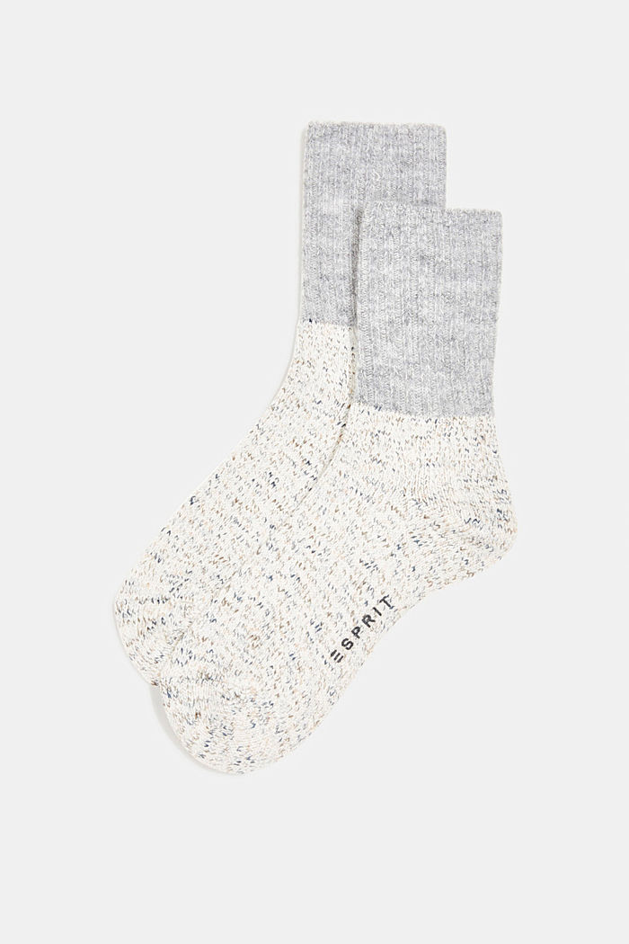 Wool blend with cashmere: sparkly socks, OFF WHITE, detail image number 0