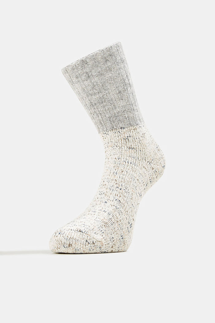 Wool blend with cashmere: sparkly socks, OFF WHITE, detail image number 1