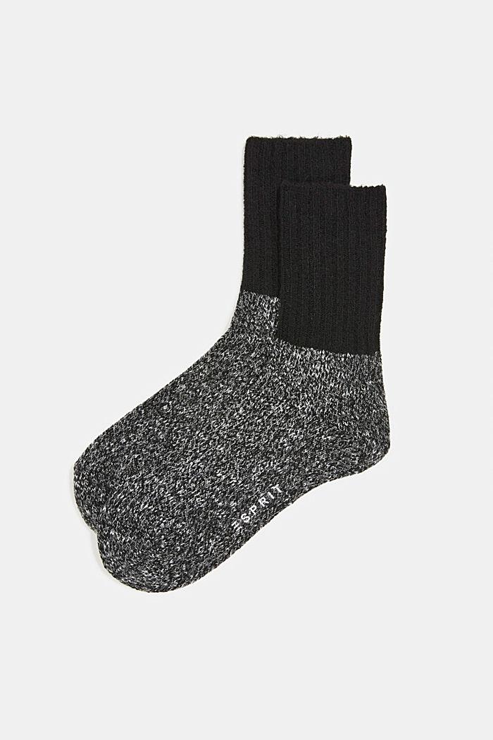 Wool blend with cashmere: sparkly socks, ANTHRACITE MELANGE, detail image number 0