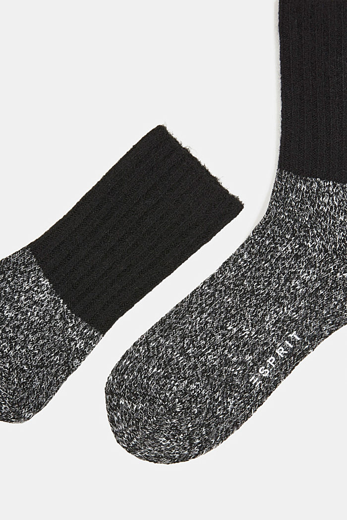Wool blend with cashmere: sparkly socks, ANTHRACITE MELANGE, detail image number 2