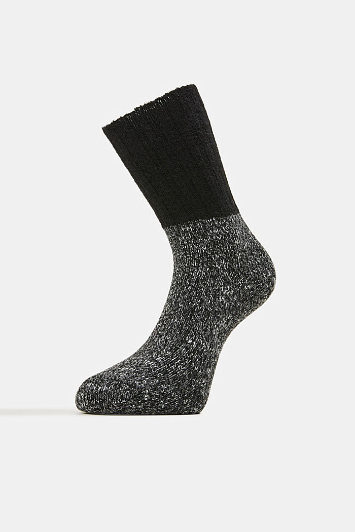 Wool blend with cashmere: sparkly socks, ANTHRACITE MELANGE, detail image number 1