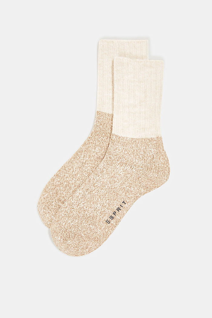 Wool blend with cashmere: sparkly socks, BEIGE, detail image number 0