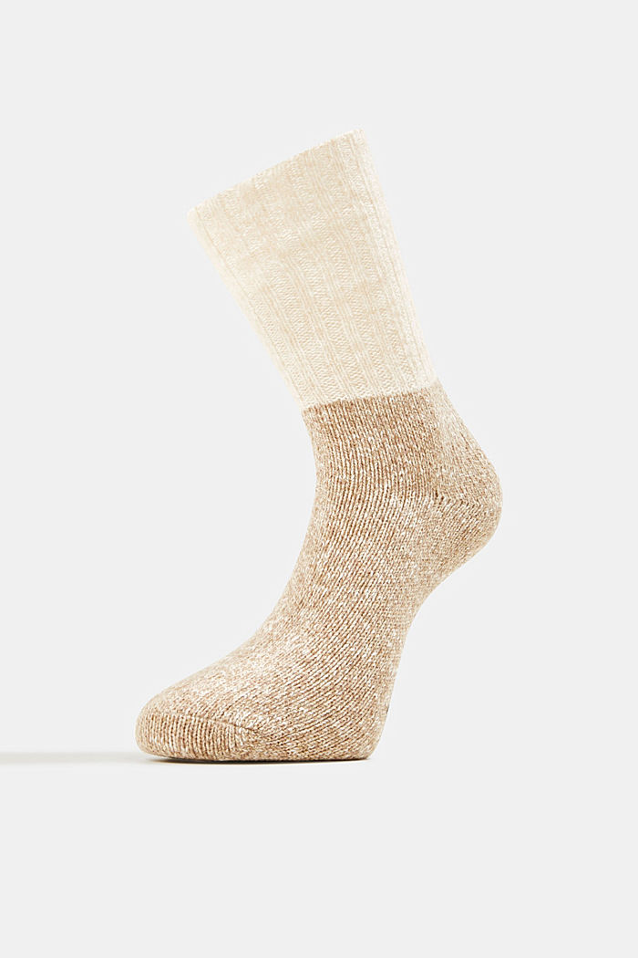 Wool blend with cashmere: sparkly socks, BEIGE, detail image number 2