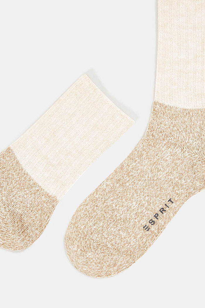 Wool blend with cashmere: sparkly socks, BEIGE, detail image number 1