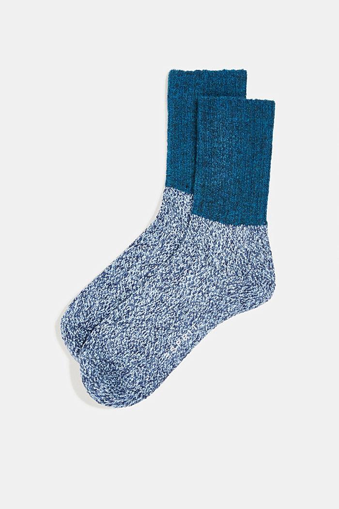 Wool blend with cashmere: sparkly socks, LIGHT DENIM, detail image number 0