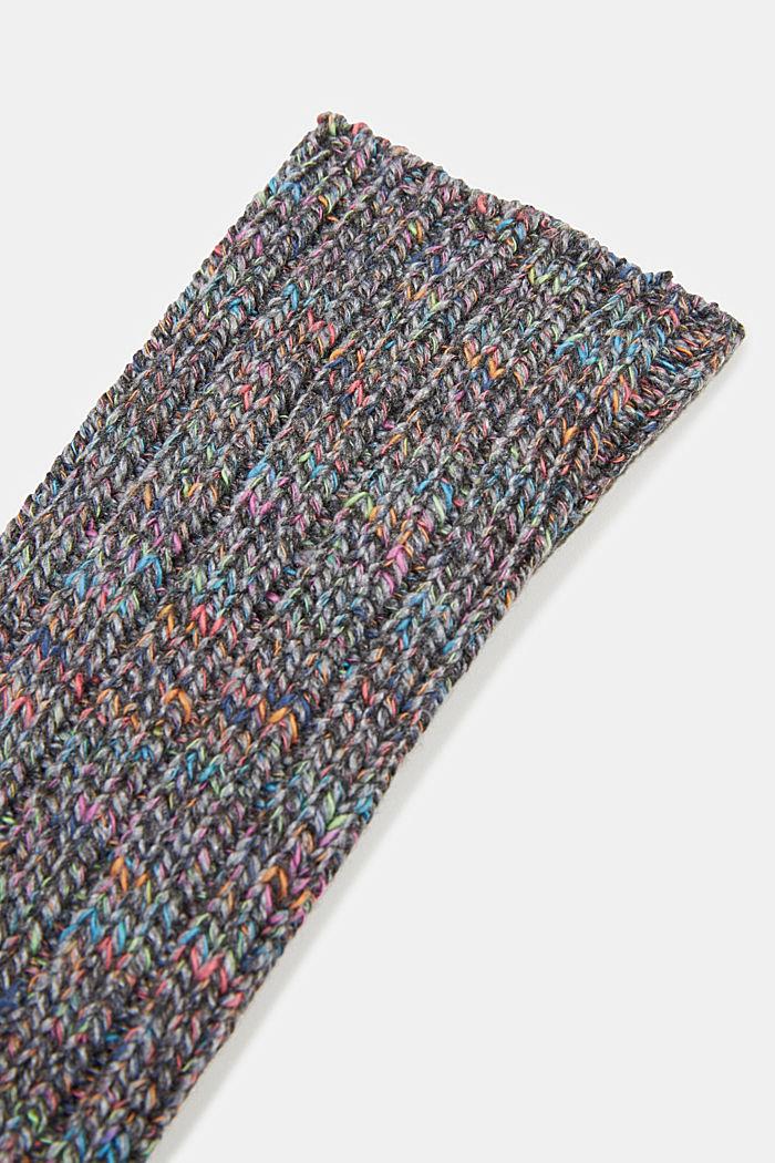 Wool blend: Multi-coloured socks with cashmere, LIGHT GREY MELANGE, detail image number 2