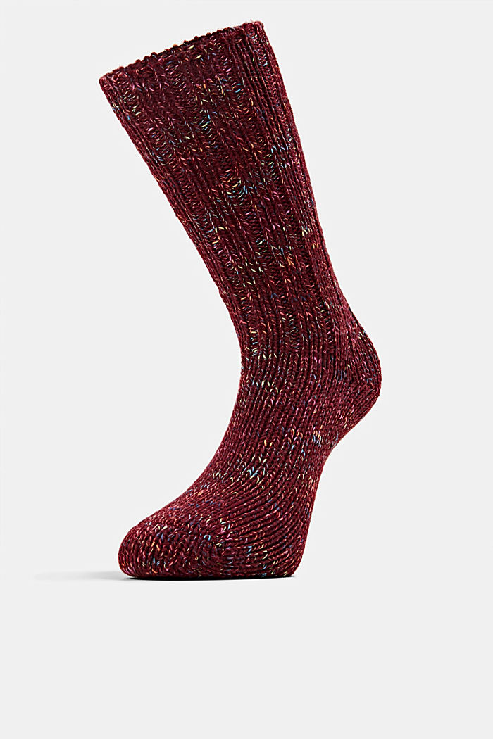 Wool blend: Multi-coloured socks with cashmere, SHADOW RED, detail image number 2