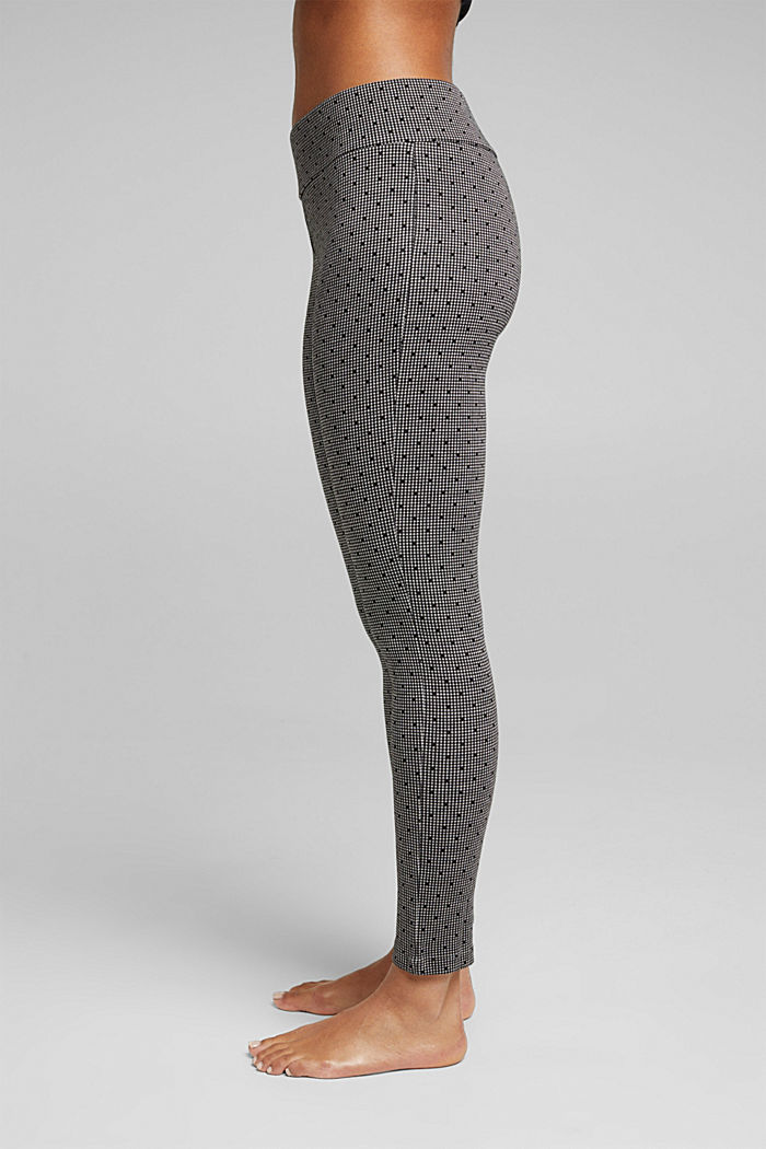 Leggings with a jacquard pattern, BLACK, detail image number 0