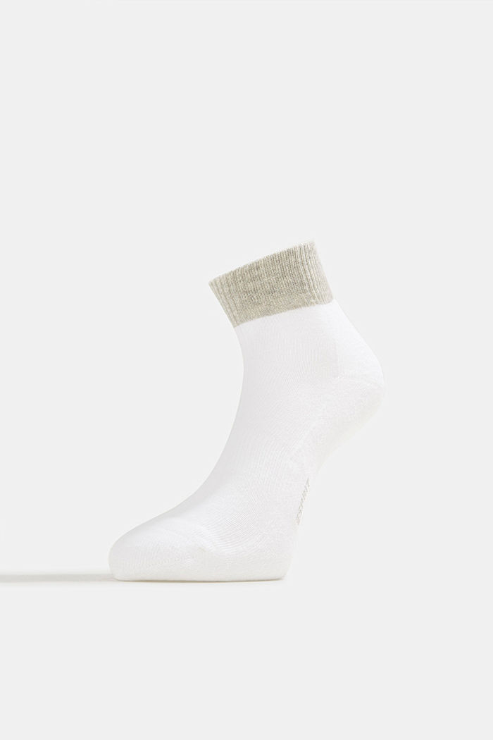 Blended cotton trainer socks, WHITE, detail image number 2