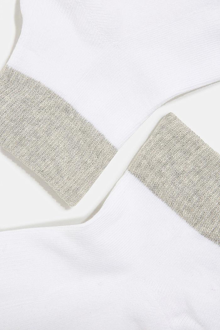 Blended cotton trainer socks, WHITE, detail image number 1
