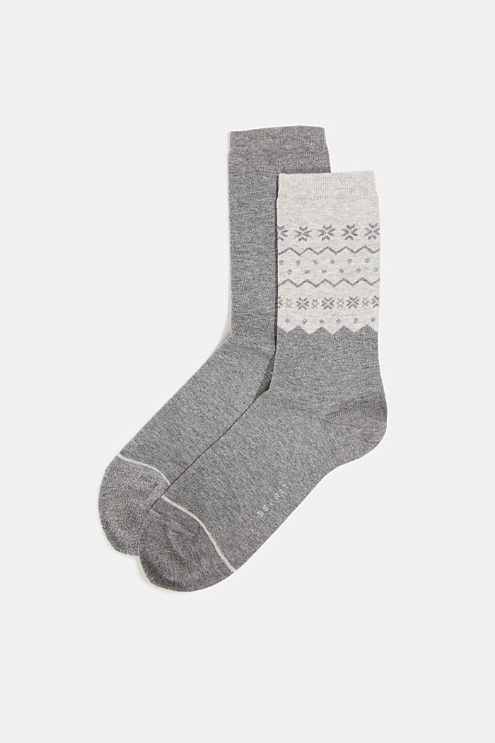 2-pack of socks with a sparkly effect, LIGHT GREY MELANGE, overview