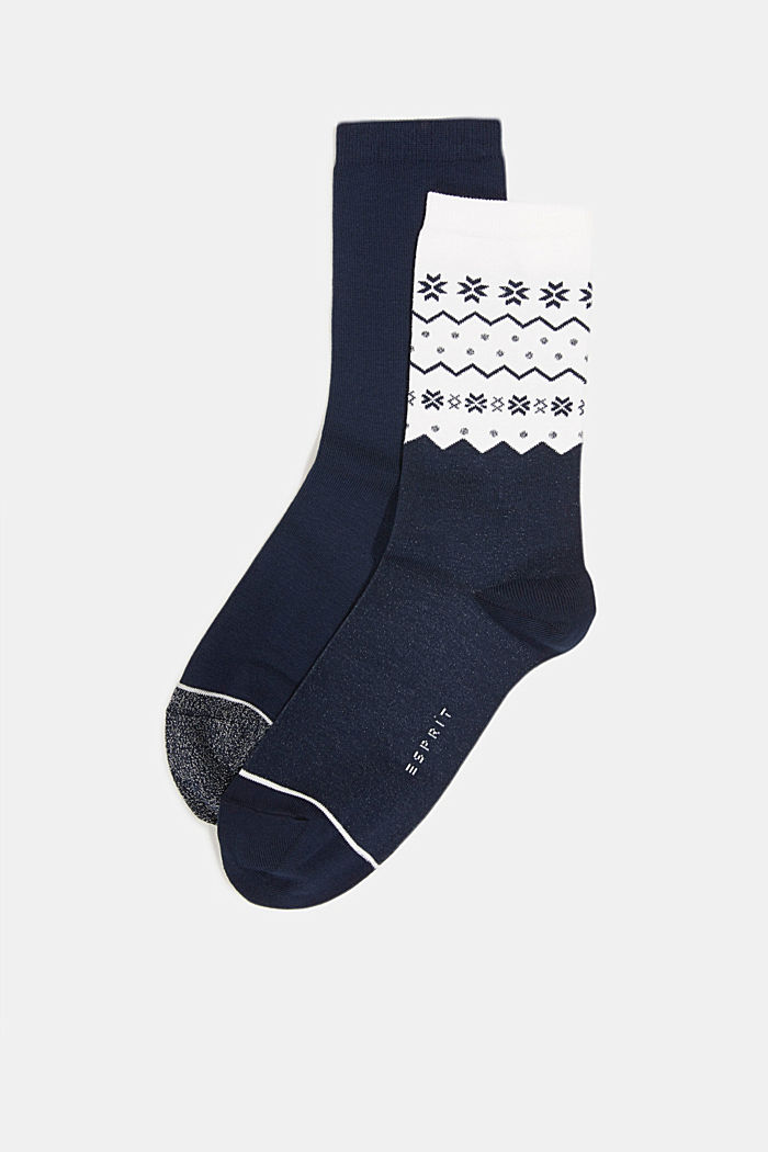 2-pack of socks with a sparkly effect, MARINE, detail image number 1