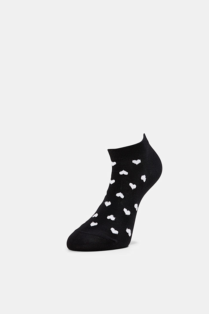 2er-Pack: Sneaker-Socken mit Herzen, BLACK, detail image number 2