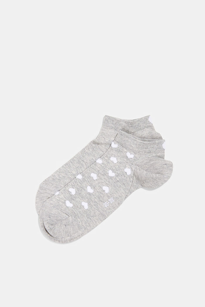 2er-Pack: Sneaker-Socken mit Herzen, LIGHT GREY, overview