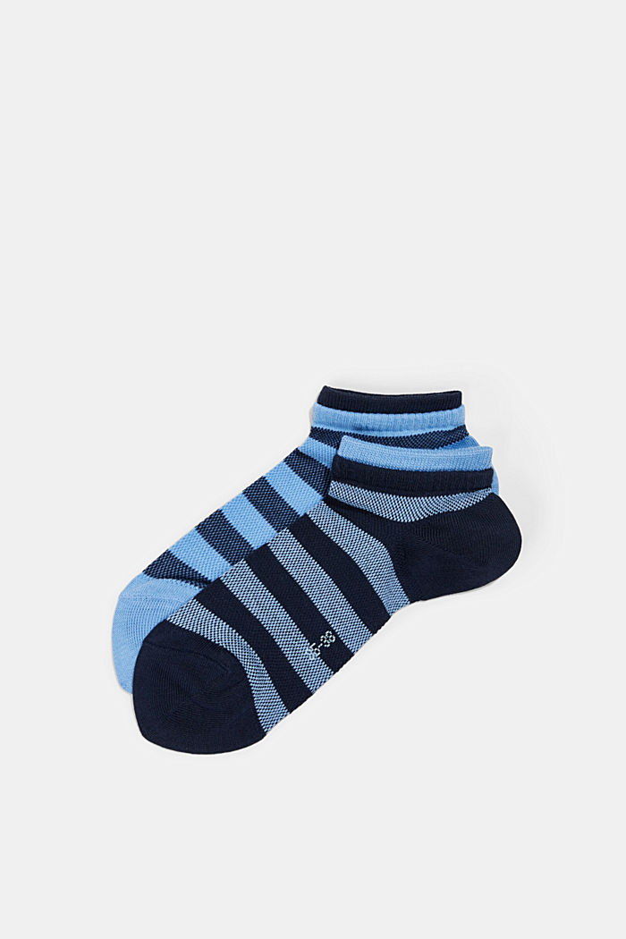 Two pack of trainer socks made of cotton mesh, BLUESTONE, detail image number 0