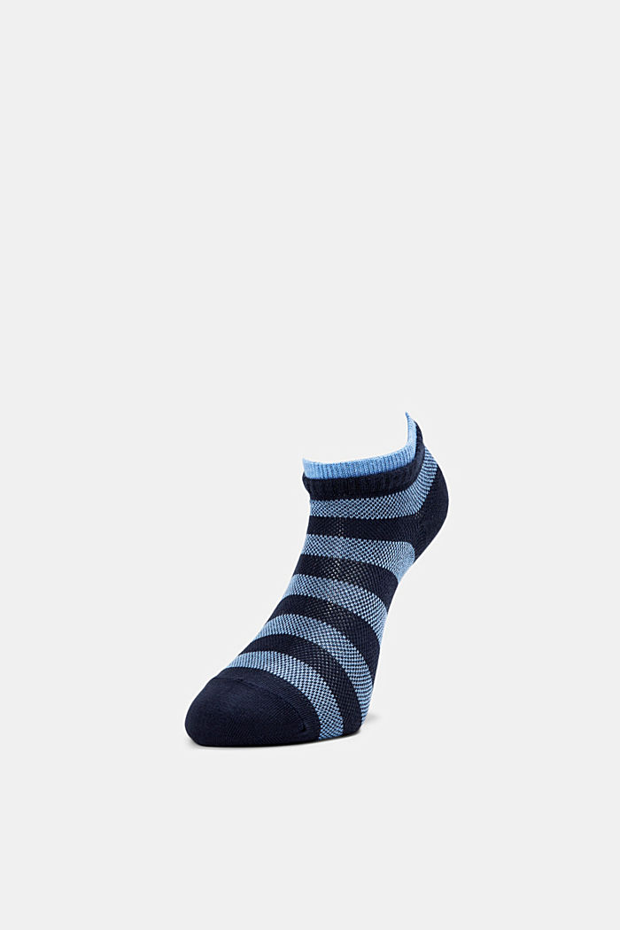 Two pack of trainer socks made of cotton mesh, BLUESTONE, detail image number 2