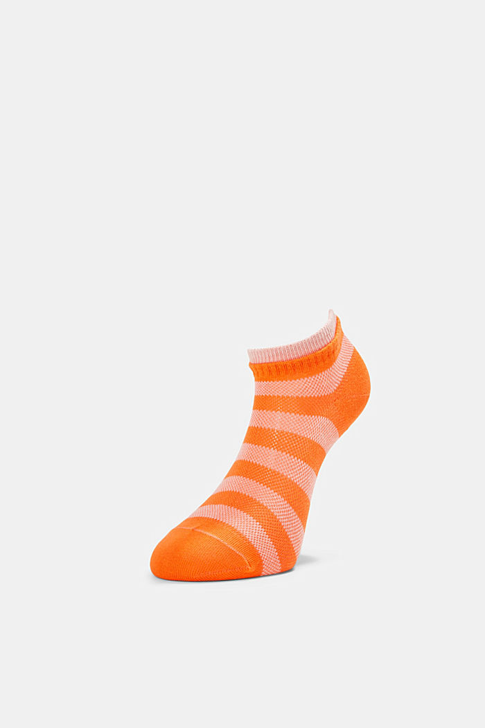 Two pack of trainer socks made of cotton mesh, ORANGE, detail image number 2