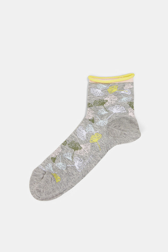 Socks with gingko motifs and rolled cuffs, LIGHT GREY, detail image number 0